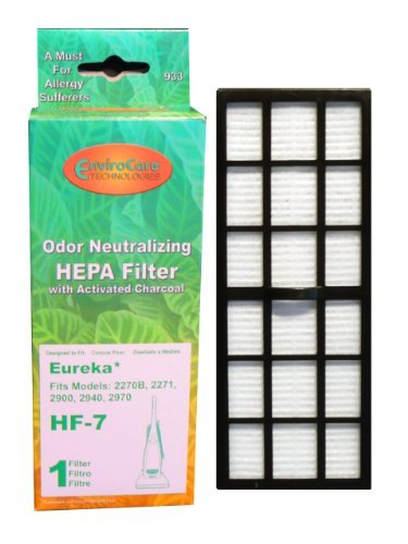 (1) Eureka 61850 Victory HF-7 HEPA Pleated w/activated Charcoal Filter, Vacuum Cleaner 4300, 4400, 4600, 5180, 5190, 2270B, 2271, 2900, 2940, 2970 & 3270