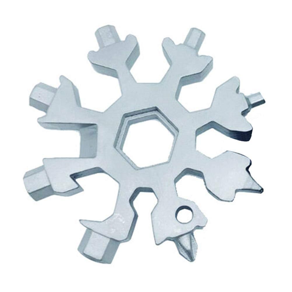 Dreameryoly Combinaison de Cartes à Outils Multiples 18 en 1 de Produits de Plein air compacts et Portables Carte à Outils Snowflake Carte à Outils Multi-Outils Snowflake