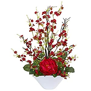 Nearly Natural 1758-RD Rose & Cherry Blossom Artificial Silk Arrangements Red 85