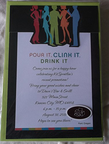 Hallmark Stationery Invitations Kit - Pour It, Clink It, Drink It - Printatble Overlays - 10 Invitations & 10 Envelopes (Beverage Overlay)