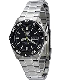 5 Sports Automatic Black Dial Stainless Steel Mens Watch SNZB23J1