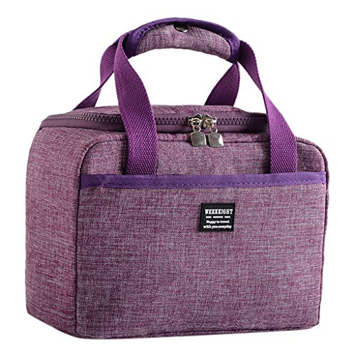 Insulated Lunch Bag, Jessie storee High Capacity Cooler Bento Box Waterproof Oil-Proof Reusable Thermal Bag - Office Worker Picnic Hiking Beach Lunch Box Organizer School Food Storage Bag, Purple (Mickey Mouse Head Lunch Box With Thermos)