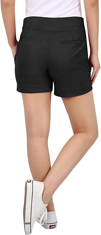 """Chino Shorts for Women 4/"""" Inseam Elastic High Waisted Casual Summer Shorts"""