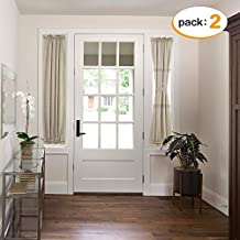 H.VERSAILTEX Taupe French Door Curtain Panels Airy and Breathable Sidelight Natural Linen Blended Sheer Curtains for Entry Door/Front Doors, Rod Pocket 2-Pack, 25 x 72 Inch Long, Privacy Assured