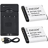 ENEGON 2 Pack Replacement Battery and Charger for Nikon EN-EL19 and Nikon Coolpix S32, S33, S100, S2800, S3100, S3200, S3300, S3500,S3600, S4100, S4200, S4300, S5200, S5300, S6500 as Sony NP-BJ1 DSC-R