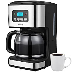 Aicok 12-Cup Programmable Coffee Maker with Glass Carafe, Anti-Drip System, Programmable Clock/Timer, PermanentFilter, Black from Aicok