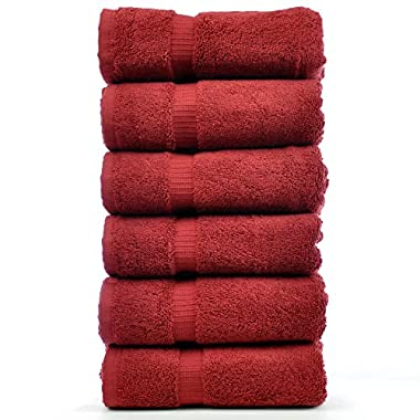 Luxury Hotel & Spa Towel 100% Genuine Turkish Cotton (Hand Towel  - Set of 6, Cranberry)