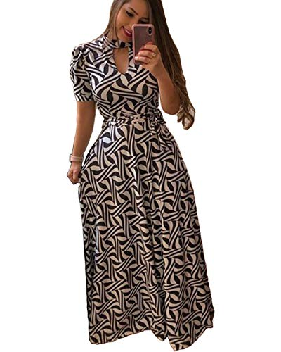 Aublary Women's Floral Maxi Dress Short Sleeve Faux Wrap Maxi Long Dresses with Removable Belt (Black + White, L)