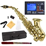 Mendini by Cecilio MSS-CSL+92D Gold Lacquer Curved B Flat Soprano Saxophone with Tuner, Case, Mouthpiece, 10 Reeds and More