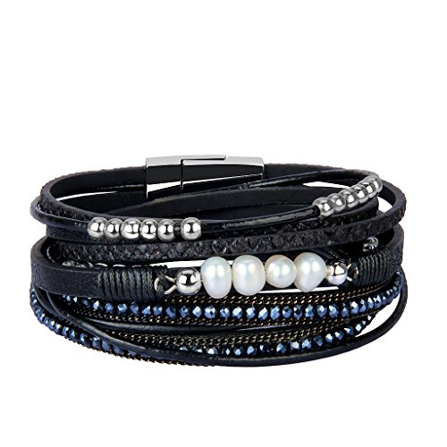 AZORA Leather Wrap Bracelet Crystal Pearls Charm Straps Layered Cuff Bracelets for Women Girls Gift - Black