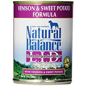 Natural Balance L.I.D. Limited Ingredient Diets Canned Wet Dog Food, Grain Free, Venison And Sweet Potato Formula, 13-Ounce (Pack Of 12) 104