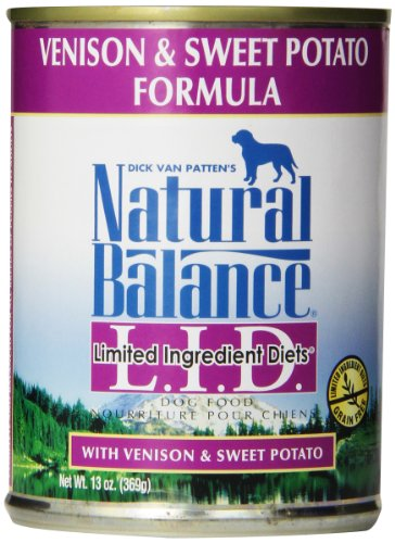 Natural Balance Canned Dog Food Grain Free Limited Ingredient Diet Venison and Sweet Potato Recipe 12 x 13 Ounce Pack