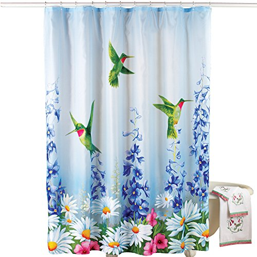 Collections Etc Garden Bliss Hummingbird Shower Curtain, Blue from Collections Etc