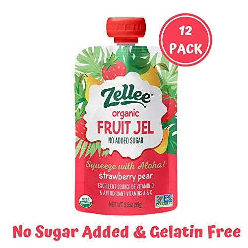 Zellee Certified Organic Fruit Jel Pouches | Strawberry Pear | 12 pack| Non-GMO, Gluten-Free, Vegan, Plant-Based, No Added Sugar, Antioxidant Rich | Healthy Snack for Adults & Kids | Jello Alternative