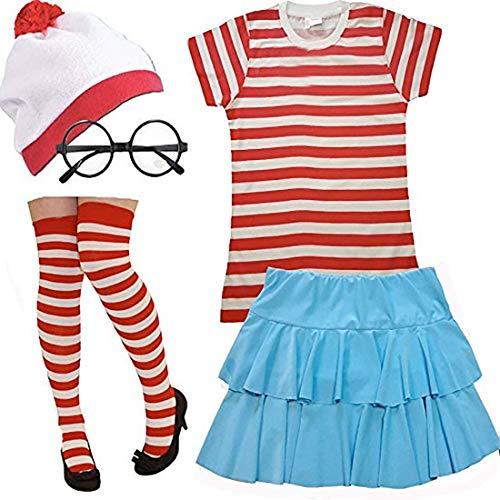 8bd2521ce9 Rimi Hanger Ladies Red White Stripe Top Bobble Hat Glasses Socks Skirt Set Womens  Fancy Dress