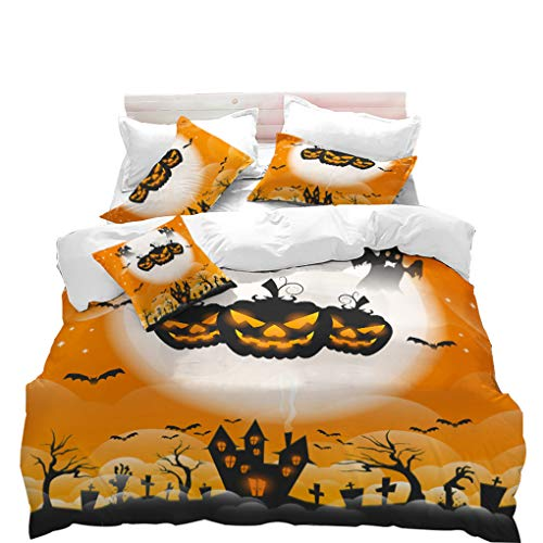 VITALE Duvet Cover Set, Halloween Printed Queen Size Quilt Cover Set, Cartoon Yellow Pumpkin Printed 3 Pieces Queen Size Bedding Set Kids Bedding Halloween Decor]()