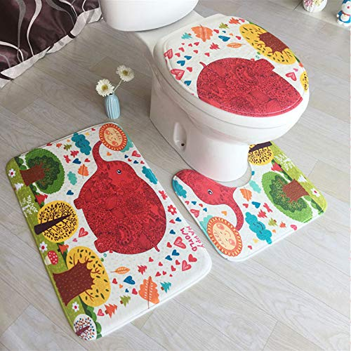 GYSDVHO 3Pcs/Set Toilet Seat Cover Bath Mat Embossing Flannel Floor Rugs Cushion Decoration Bathroom Accessories Style 3 by GYSDVHO