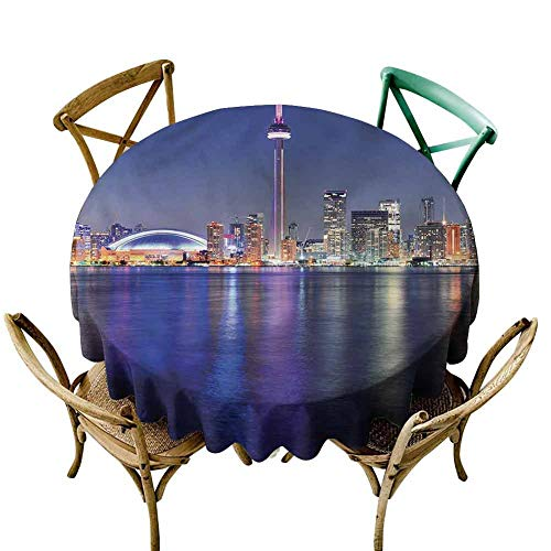 UETECH Restaurant Round Tablecloth Blue,Canada Toronto Sunset North Wrinkle Free Tablecloths Diameter 50