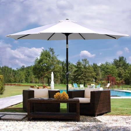 9ft White Sunshade Umbrella Metal Pole Outdoor Garden Yard Patio Beach Market Cafe 9′ For Sale