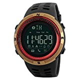 Electronic Fitness Tracker Digital Sports Bluetooth Smart Watch Waterproof Pedometer Remote Camera Incoming Call or Message Alert Reminder for iOS & Android Smartwatch Men & Women (Black & Gold)