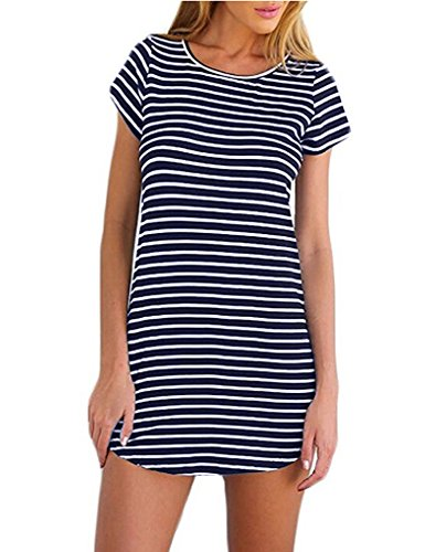 OURS Women's Summer Short Sleee Slim Fit Striped Shirts Mini Dresses Juniors Dress Top (S, Navy Blue) Blue Striped Cotton Dress Shirt