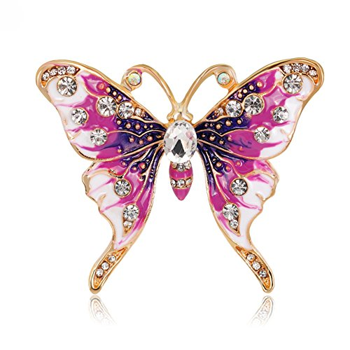 Fashion Multicolor Rhinestone Butterfly Brooch Pin Big Faux Pearl Enamel Brooch Pin Wedding Bridal Gift (Pink + Purple)