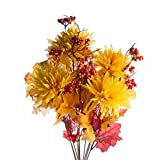 direct to mum - Sunny Harvest Artificial Spider Mum, Maple Leaf and Mixed Berry Bush