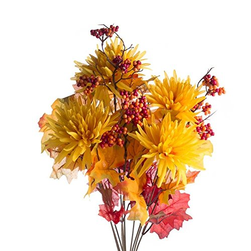 Sunny Harvest Artificial Spider Mum, Maple Leaf and Mixed Berry - Sunflower Bush