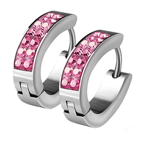 BodyJ4You Hoop Earrings Huggie Earrings CZ Inlaid Pave Pink Crystal