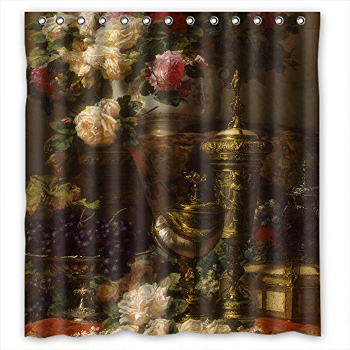 PLATIM Polyester Famous Classic Art Painting Flowers Blossoms Bathroom Curtains Width X Height / 72 X 72 Inches / W H 180 By 180 Cm Best Choice For Birthday,gf,father,teens,boys. Anti Bacterial - -