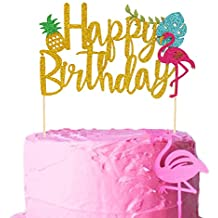 Salmuphy Flamingo Pineapple Cake Toppers Happy Birthday Cake Picks Tropical Hawaiian Luau Themed Glitter Party Supplies Decorations