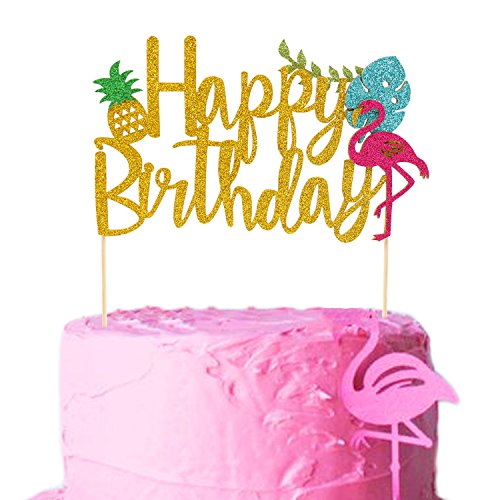 Flamingo Pineapple Cake Toppers Happy birthday Cake picks Tropical Hawaiian Luau Themed Glitter Party Supplies Decorations by Salmuphy