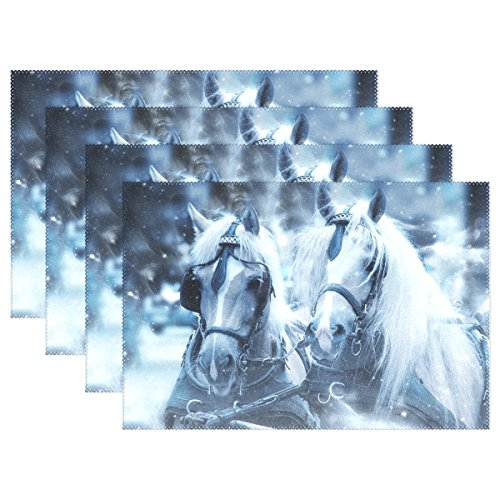 DNOVING Horses Snow Head Art Nature Scrapbooking Paper Placemats Set Of 4 Heat Insulation Stain Resistant For Dining Table Durable Non-slip Kitchen Table Place Mats -