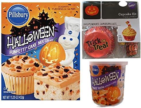 Amazon.com : Pillsbury Halloween Funfetti Cake Mix, Funfetti Vanilla Frosting, and Cupcake Kit Bundle (3 Items) : Grocery & Gourmet Food