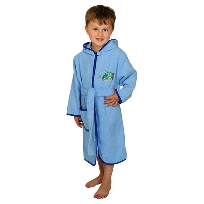 """Wörner – Poncho – Albornoz de rizo bebés/niños pequeños """"Tractor Color Azul"""