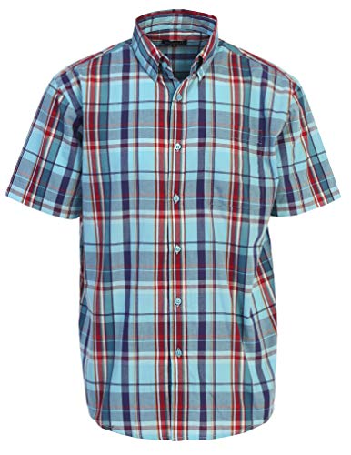 - Gioberti Men's Plaid Short Sleeve Shirt, Blue/Red, X Large