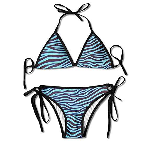 (BJN GL Fashion Women Trippy Turquoise Zebra Stripe Printing Sexy Two-Piece Bikini Set Beach Bathing Suit)