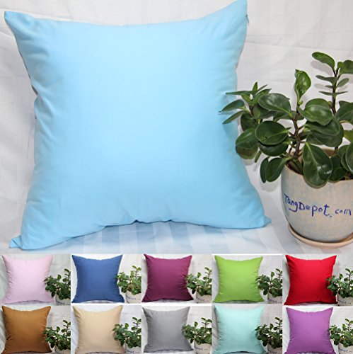 TangDepot, Super Silky Soft, HIGHEST QUALITY 100% Cotton Solid Decorative Throw Pillow Covers, Pillowcases, euro shams, many color & size options, Baby Blue, Baby Pink, Beige, Coffee, Gray, Green, Mint, Navy Blue, Purple, Red, Wine, 12