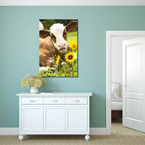 Wall26 Canvas Print Wall Art - Cattle Lying on Grass with Sunflowers - Gallery Wrap Modern Home Decor | Ready to Hang - 16x24 inches