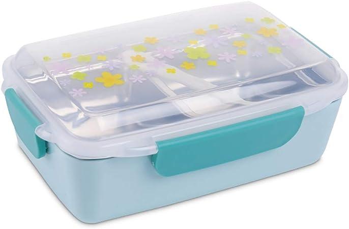 ZA Fiambrera Antihumedad de Acero Inoxidable con vajilla, Caja Bento for niños Estudiante con Compartimentos y Tapa, Fiambrera Acero Inoxidable (Color : Azul): Amazon.es: Hogar