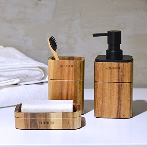 Acacia Wood Bathroom Accessories Set 3 Pieces Include Soap Dispenser, Tumbler, Soap Dish Satu Brown Bathroom Set for Kitchen Décor and House Warming Gift