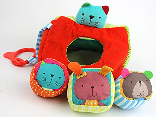 Colorful Animal 3 holes shape sorter, Geometric Triangle sorting Rattle Plush Toys , Baby Cognitive Matching Blocks Shape - Hand Ernie Puppet Plush