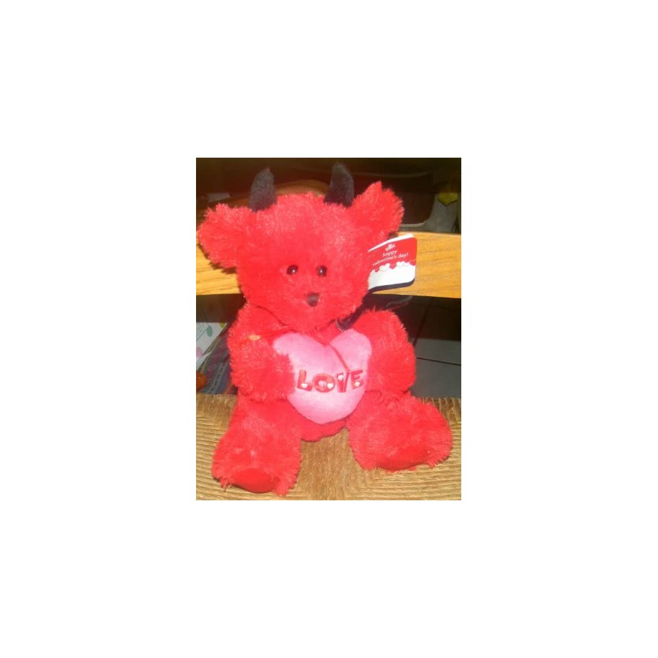 APPROXIMATELY 9 PLUSH STUFFED RED DEVIL TEDDY BEAR