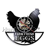 Funny Chicken Silhouette Wall Clock Farm Fresh Eggs Farmhouse Style Rooster Vintage Record Clock Modern Animal Wall Art (Without LED)
