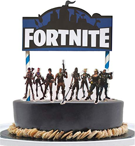 Fortnite Video Game Cake Topper - 7 inch fort-nite Birthday Cake Topper and Video Game Party Supplies (gaming supplies)
