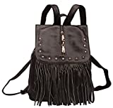 Fiswiss Women's Genuine Leather Fringe Backpack Purses Handbags (Black)