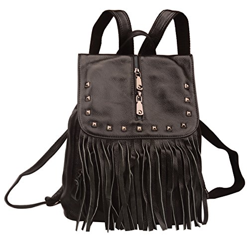 Fiswiss Women's Genuine Leather Fringe Backpack Purses Handbags (Black) by Fiswiss