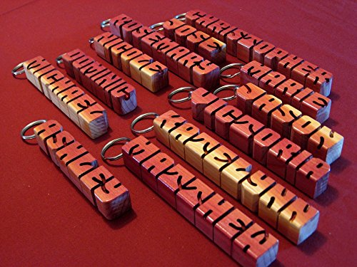 Red Cedar Timber - Hand carved personalized wooden keychain - wood letters - desk name - ornament - customized gift