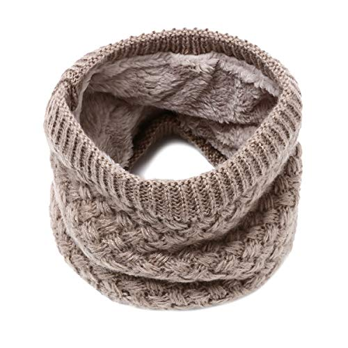 Price comparison product image Infinity Scarf Flowomen Winter Double-Layer Soft Fleece Lined Thick Knit Neck Warmer Circle Scarves for Women Men (Coffee)