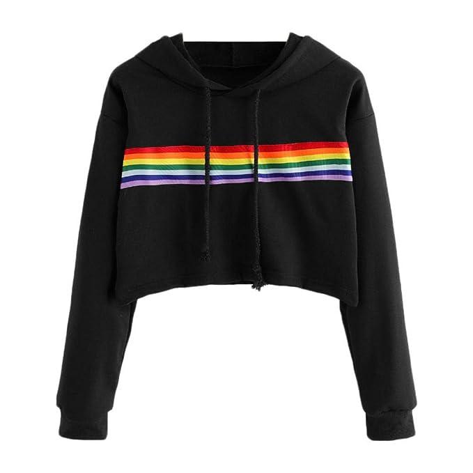 acfd1ba0fb5b54 Styledresser promozione T-Shirt da Donna,Maglieria da Donna,Camicetta Felpa  con Cappuccio Color Arcobaleno da Donna: Amazon.it: Abbigliamento